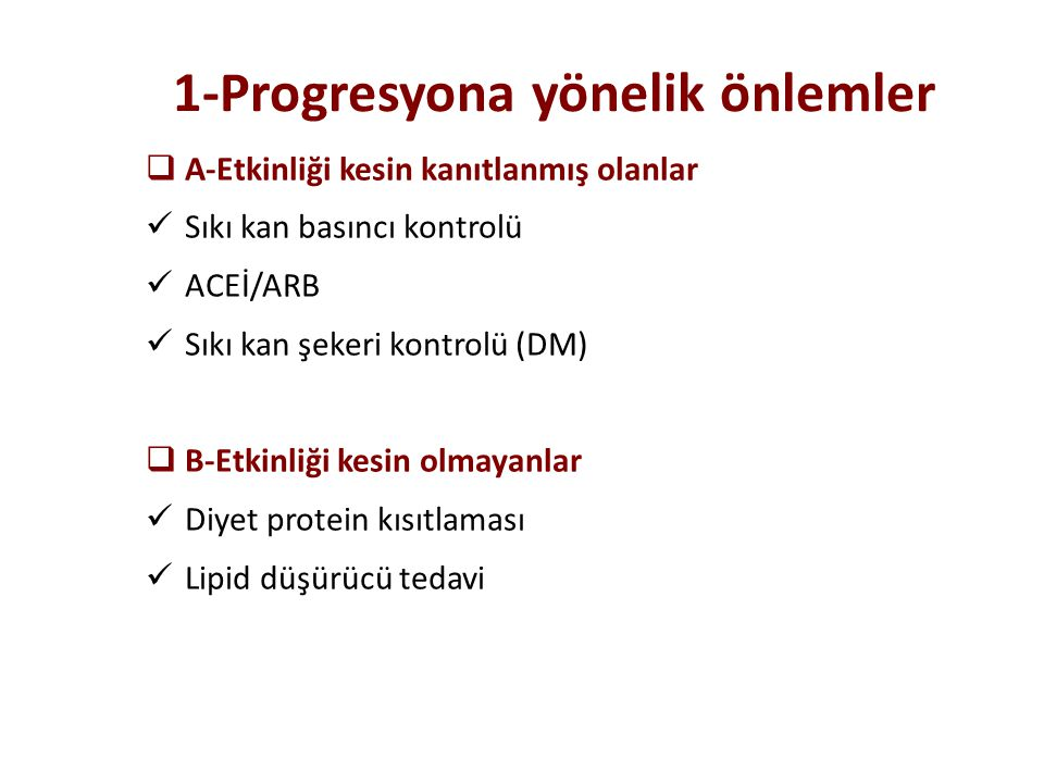 1-Progresyona yönelik önlemler