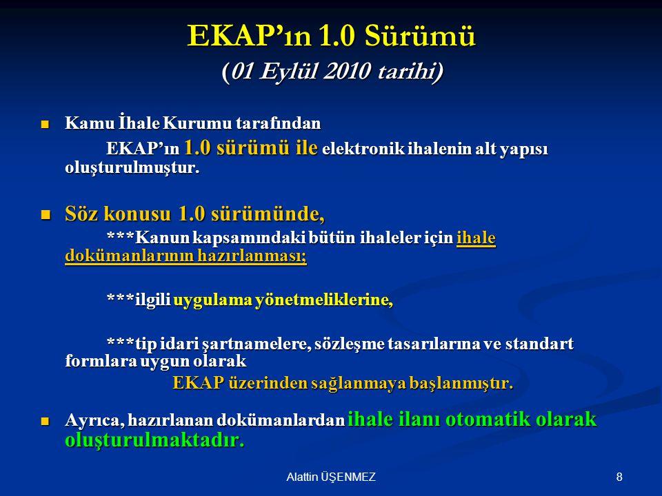 EKAP'ın 1.0 Sürümü (01 Eylül 2010 tarihi)