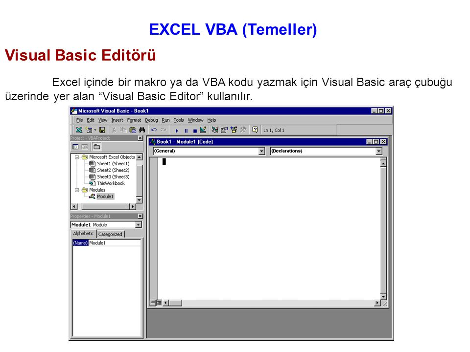 EXCEL VBA (Temeller) Visual Basic Editörü