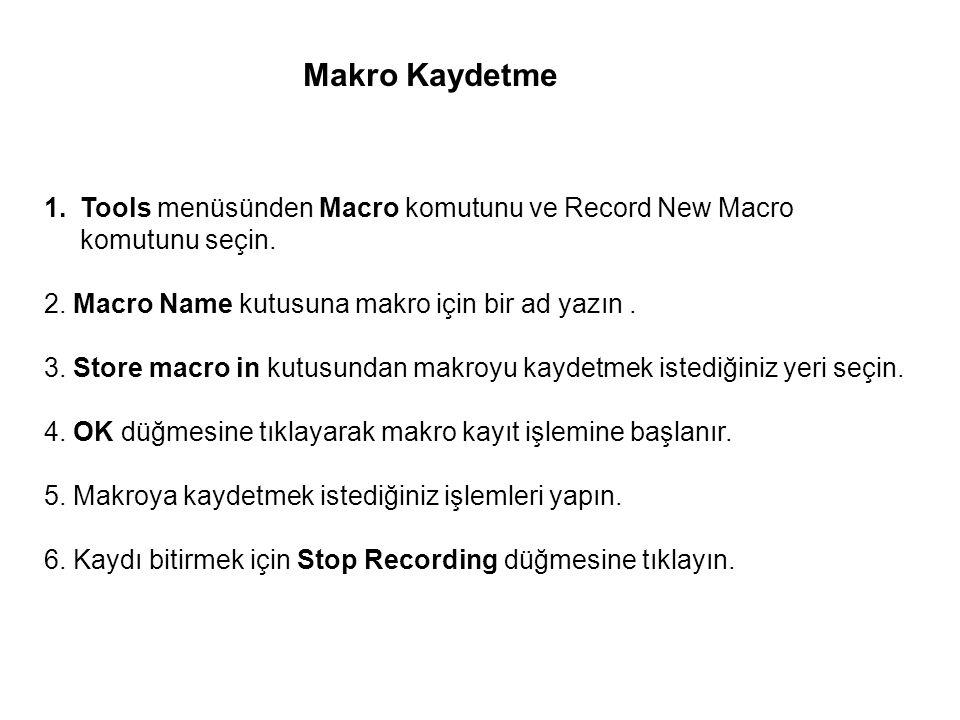 Makro Kaydetme Tools menüsünden Macro komutunu ve Record New Macro komutunu seçin. 2. Macro Name kutusuna makro için bir ad yazın .