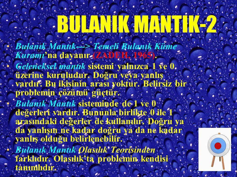 BULANIK MANTIK-2 Bulanık Mantık---> Temeli Bulanık Küme Kuramı'na dayanır (ZADEH, 1965).