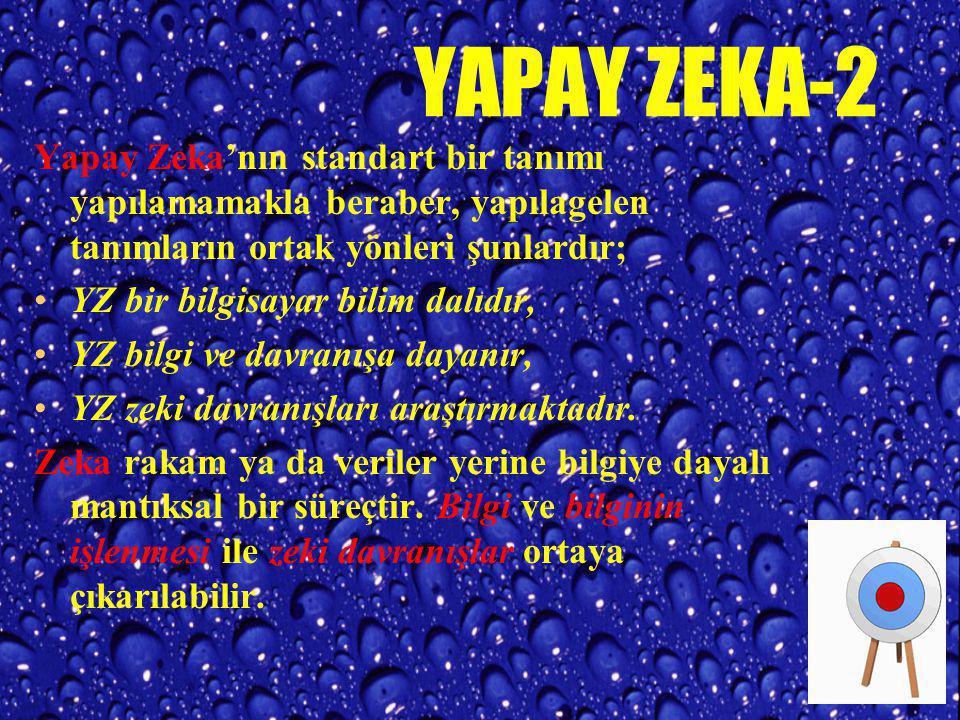 YAPAY ZEKA-2 Yapay Zeka'nın standart bir tanımı yapılamamakla beraber, yapılagelen tanımların ortak yönleri şunlardır;
