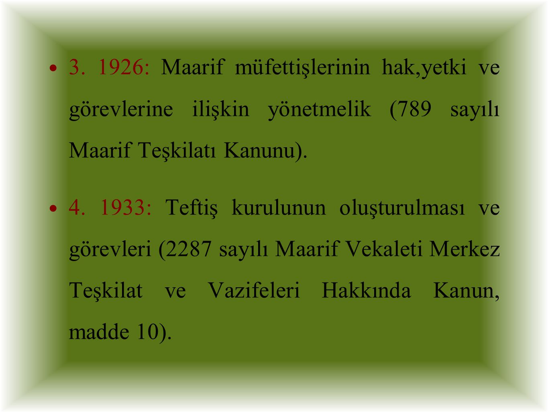 3. 1926: Maarif müfettişlerinin hak,yetki ve görevlerine ilişkin yönetmelik (789 sayılı Maarif Teşkilatı Kanunu).