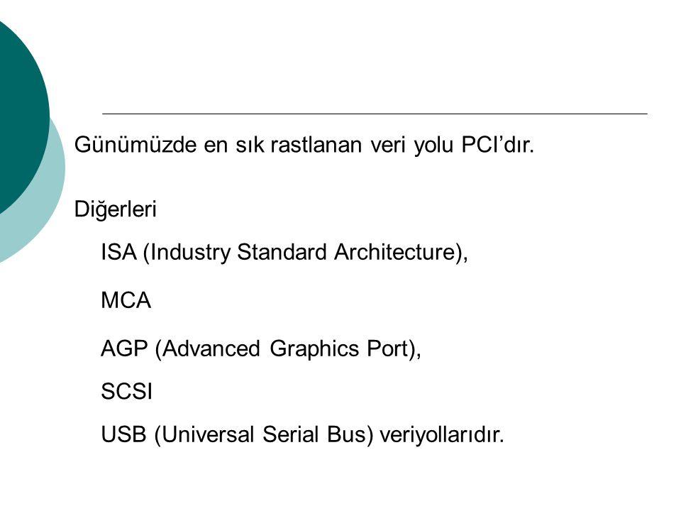 Günümüzde en sık rastlanan veri yolu PCI'dır.