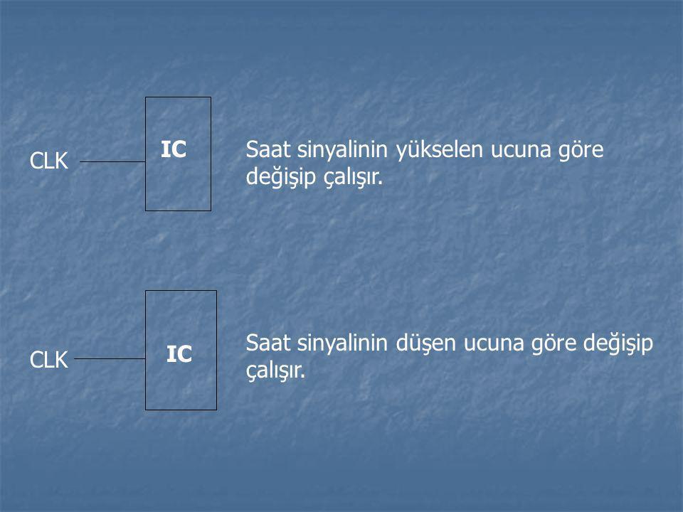CLK IC. Saat sinyalinin yükselen ucuna göre değişip çalışır.