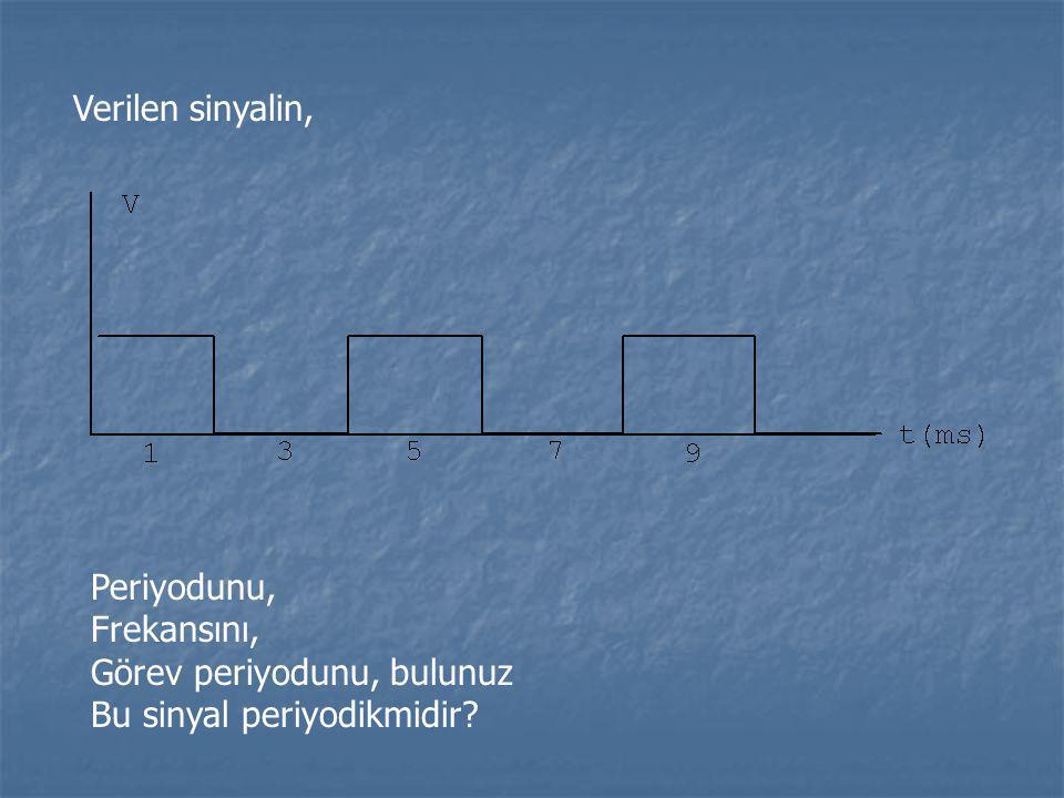 Verilen sinyalin, Periyodunu, Frekansını, Görev periyodunu, bulunuz Bu sinyal periyodikmidir