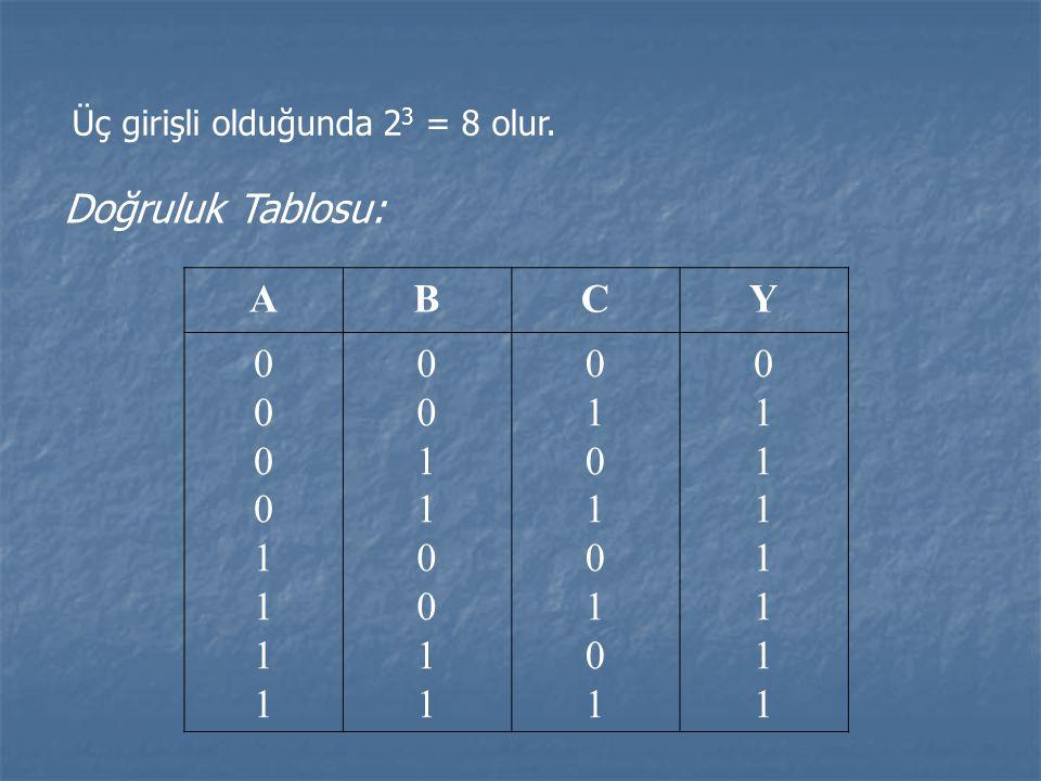 Üç girişli olduğunda 23 = 8 olur.