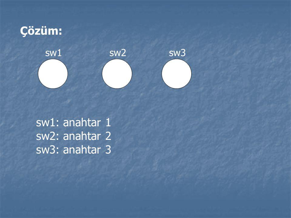 Çözüm: sw1 sw2 sw3 sw1: anahtar 1 sw2: anahtar 2 sw3: anahtar 3