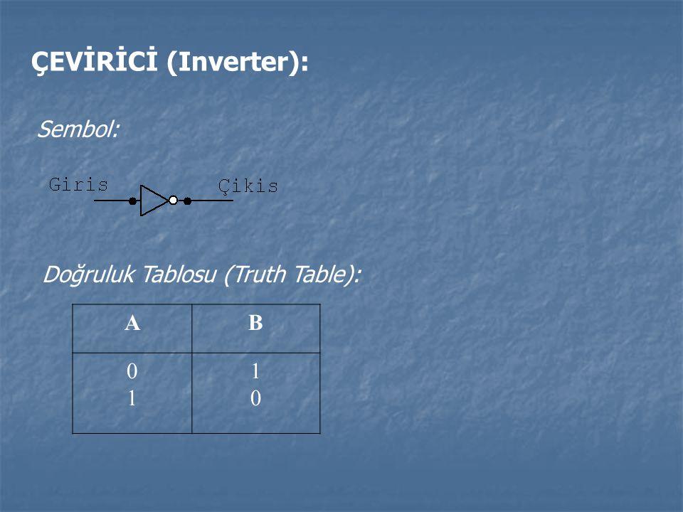 ÇEVİRİCİ (Inverter): Sembol: Doğruluk Tablosu (Truth Table): A B 1