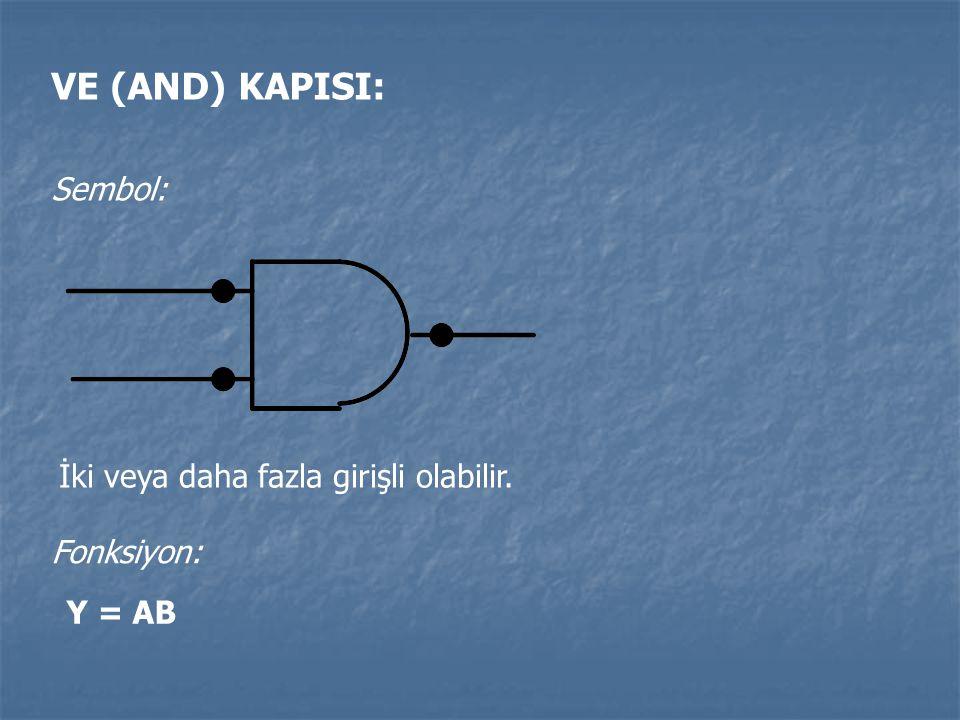 VE (AND) KAPISI: Sembol: İki veya daha fazla girişli olabilir.