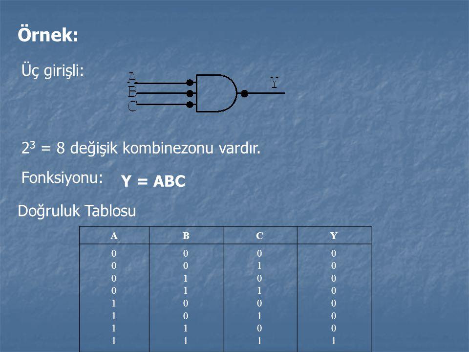 Örnek: Üç girişli: 23 = 8 değişik kombinezonu vardır. Fonksiyonu: