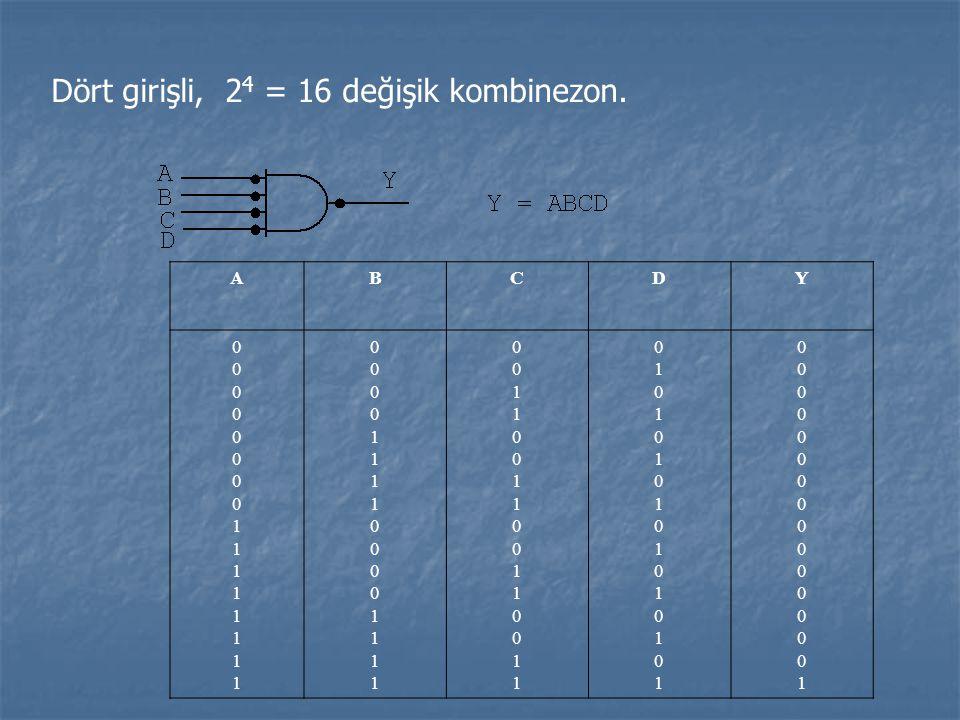 Dört girişli, 24 = 16 değişik kombinezon.