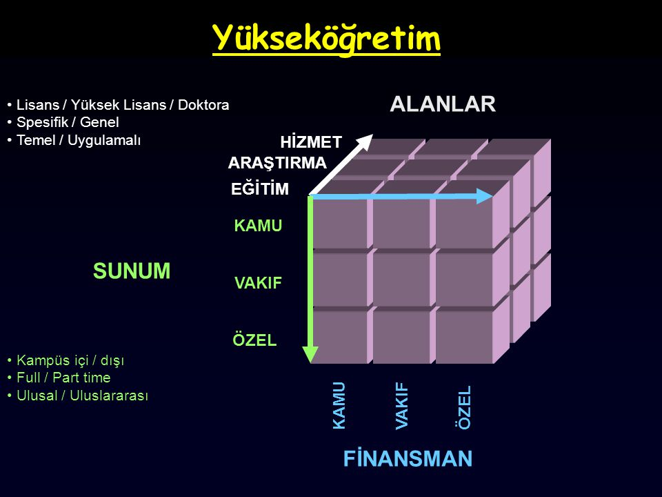Yükseköğretim ALANLAR SUNUM FİNANSMAN HİZMET ARAŞTIRMA EĞİTİM KAMU