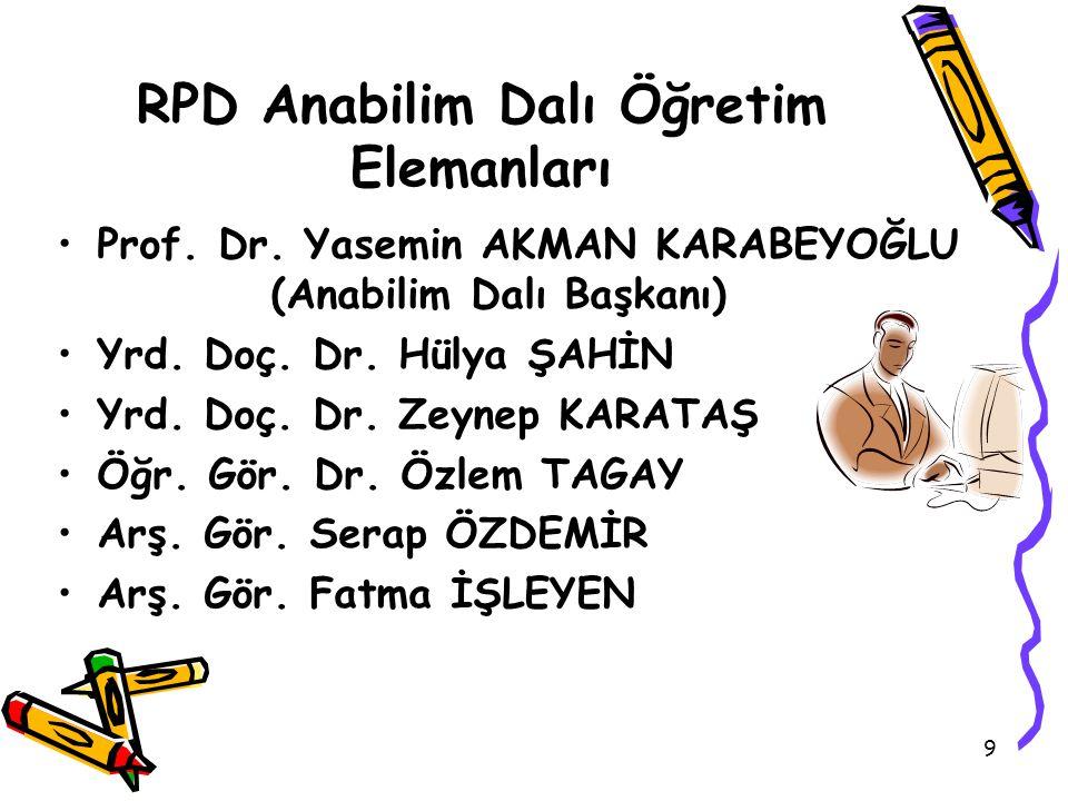 RPD Anabilim Dalı Öğretim Elemanları