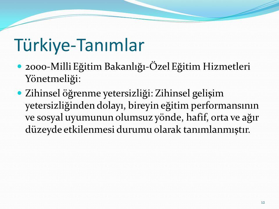 Türkiye-Tanımlar 2000-Milli Eğitim Bakanlığı-Özel Eğitim Hizmetleri Yönetmeliği: