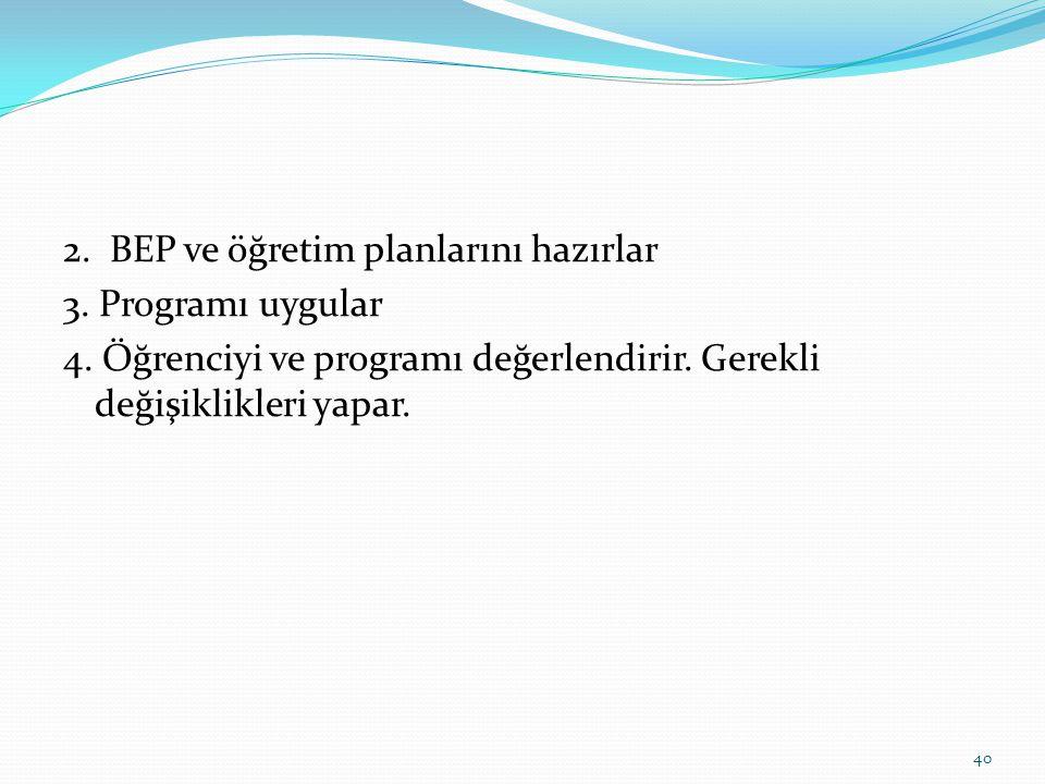 2. BEP ve öğretim planlarını hazırlar