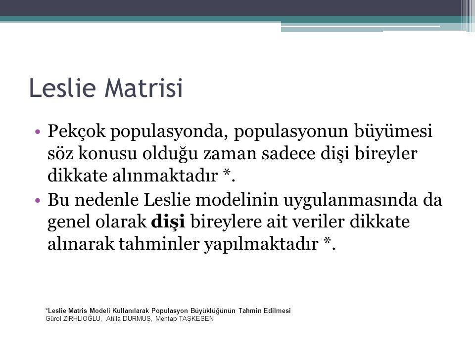 Leslie Matrisi Pekçok populasyonda, populasyonun büyümesi söz konusu olduğu zaman sadece dişi bireyler dikkate alınmaktadır *.