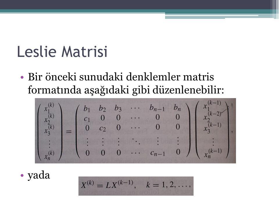 Leslie Matrisi Bir önceki sunudaki denklemler matris formatında aşağıdaki gibi düzenlenebilir: yada.