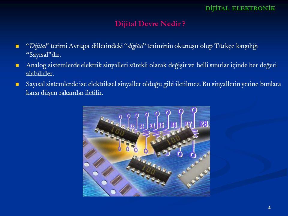 DİJİTAL ELEKTRONİK Dijital Devre Nedir Dijital terimi Avrupa dillerindeki digital teriminin okunuşu olup Türkçe karşılığı Sayısal dır.