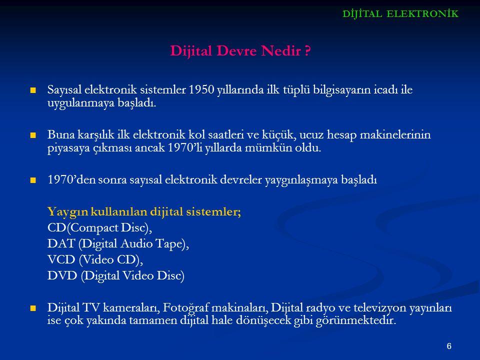 DİJİTAL ELEKTRONİK Dijital Devre Nedir Sayısal elektronik sistemler 1950 yıllarında ilk tüplü bilgisayarın icadı ile uygulanmaya başladı.
