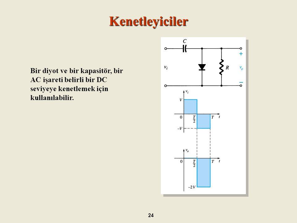 Kenetleyiciler Bir diyot ve bir kapasitör, bir AC işareti belirli bir DC seviyeye kenetlemek için kullanılabilir.
