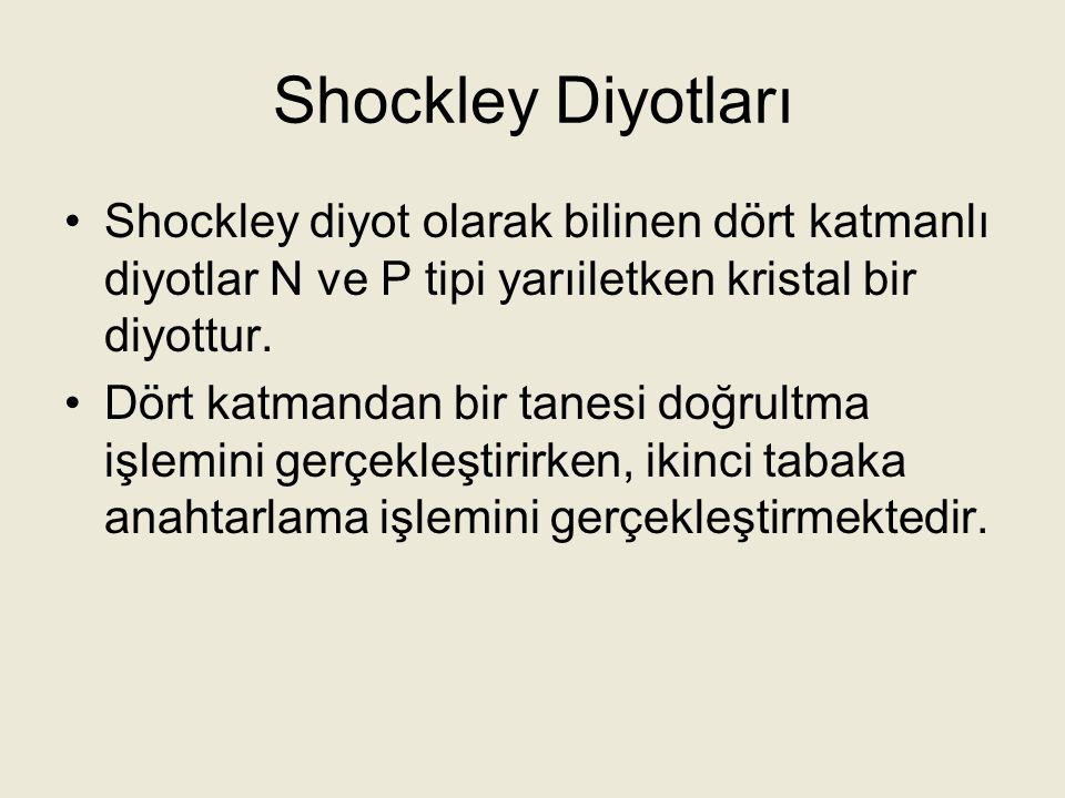 Shockley Diyotları Shockley diyot olarak bilinen dört katmanlı diyotlar N ve P tipi yarıiletken kristal bir diyottur.