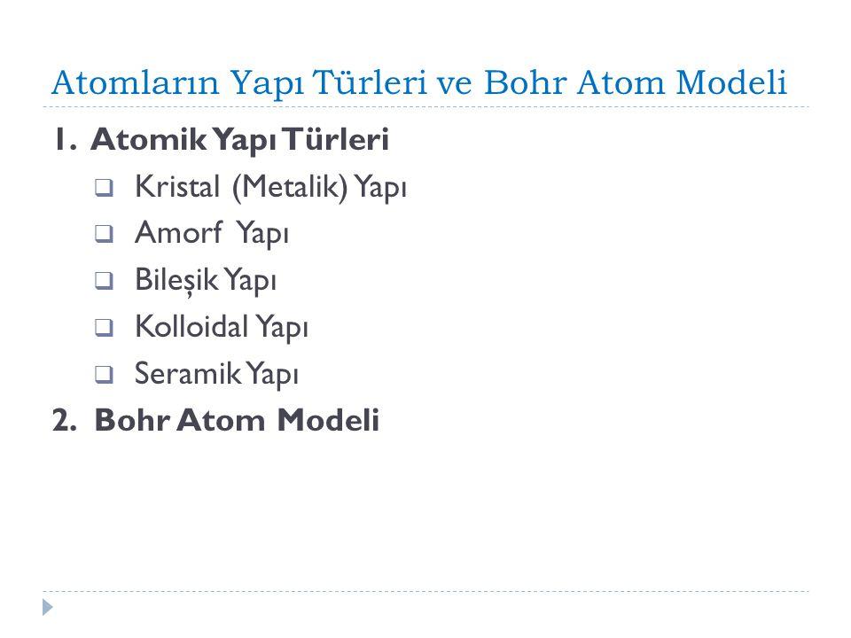 Atomların Yapı Türleri ve Bohr Atom Modeli