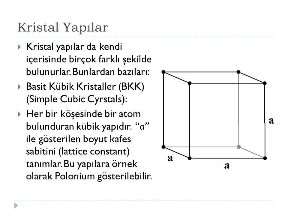 Kristal Yapılar Kristal yapılar da kendi içerisinde birçok farklı şekilde bulunurlar. Bunlardan bazıları: