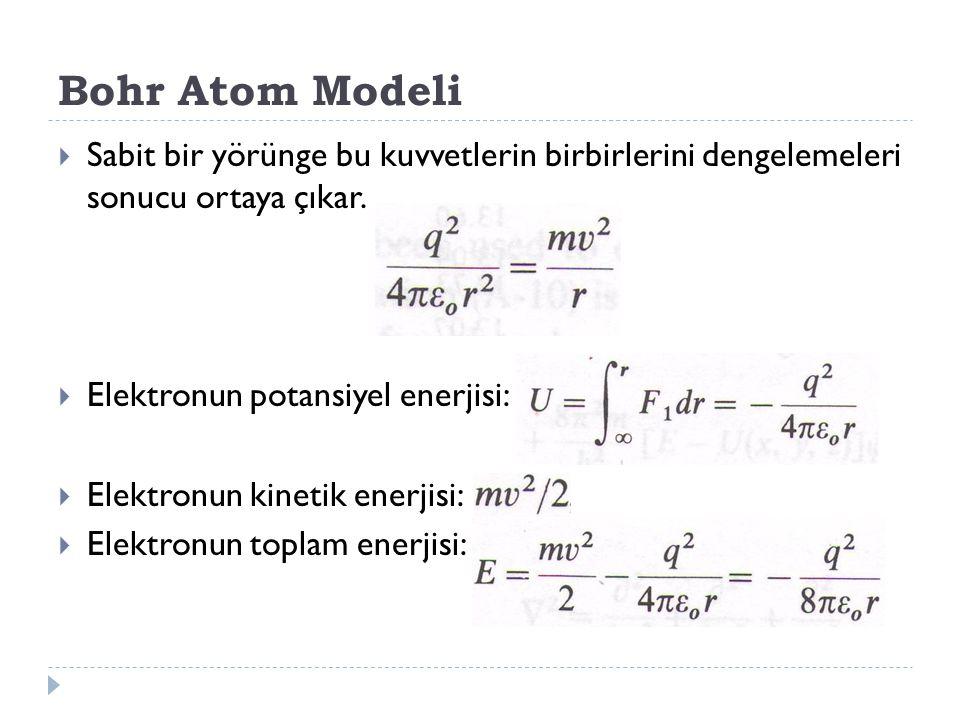 Bohr Atom Modeli Sabit bir yörünge bu kuvvetlerin birbirlerini dengelemeleri sonucu ortaya çıkar. Elektronun potansiyel enerjisi: