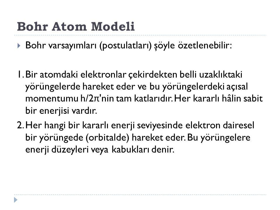 Bohr Atom Modeli Bohr varsayımları (postulatları) şöyle özetlenebilir: