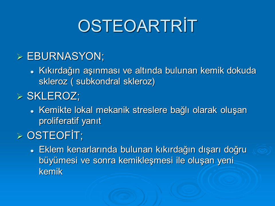 OSTEOARTRİT EBURNASYON; SKLEROZ; OSTEOFİT;