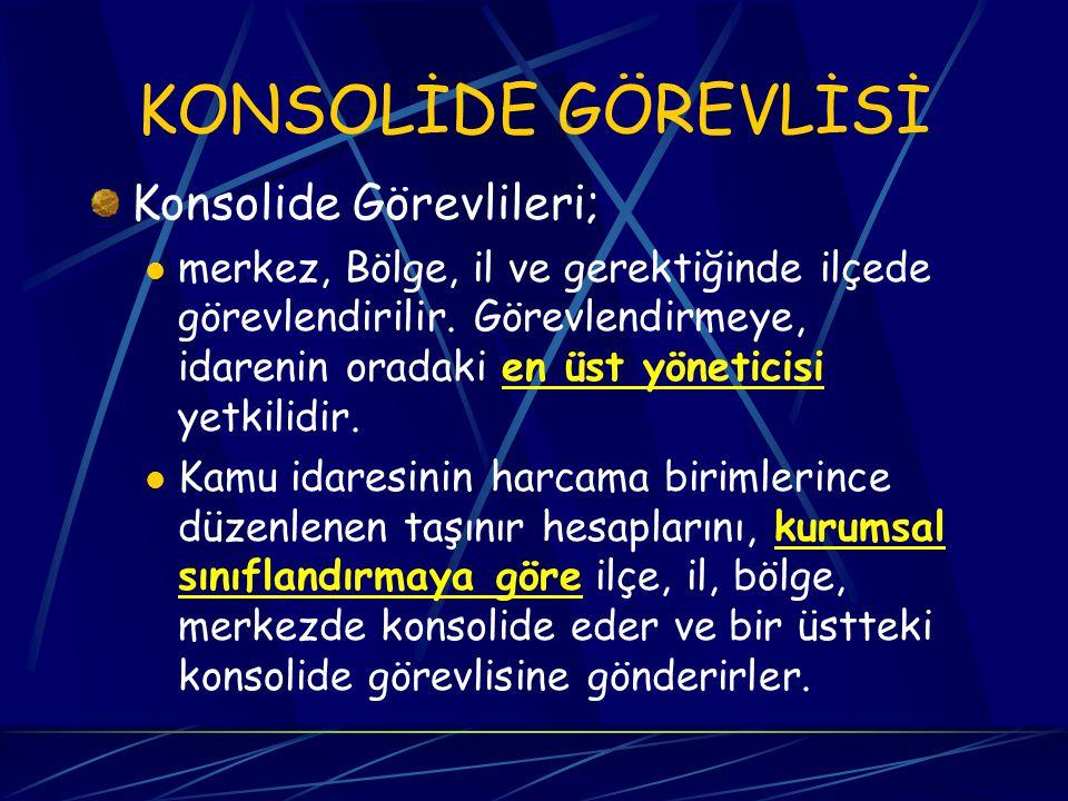 KONSOLİDE GÖREVLİSİ Konsolide Görevlileri;