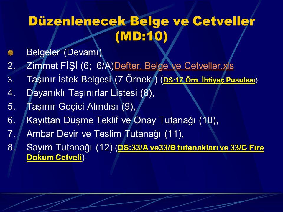 Düzenlenecek Belge ve Cetveller (MD:10)