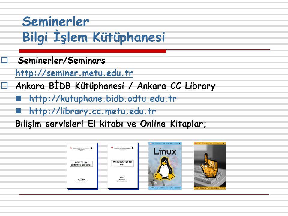 Seminerler Bilgi İşlem Kütüphanesi