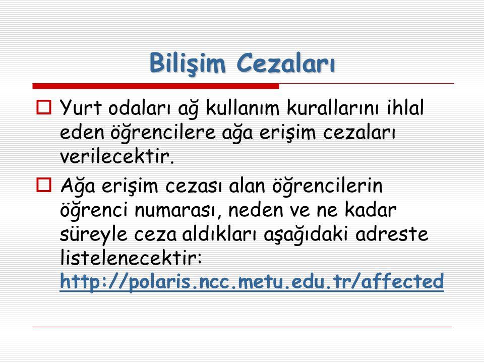 Bilişim Cezaları Yurt odaları ağ kullanım kurallarını ihlal eden öğrencilere ağa erişim cezaları verilecektir.