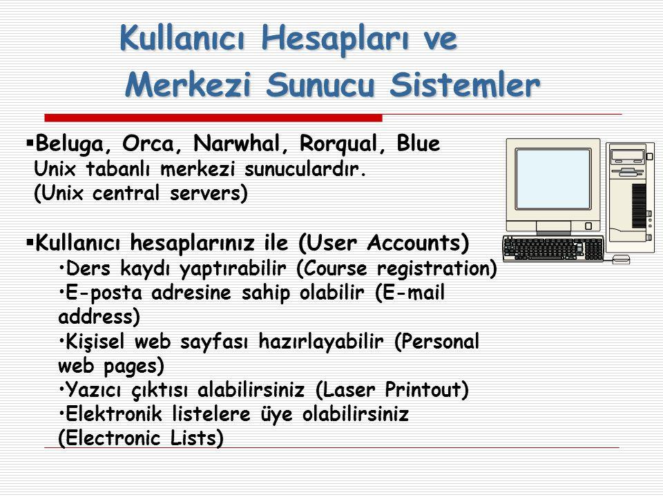 Kullanıcı Hesapları ve Merkezi Sunucu Sistemler