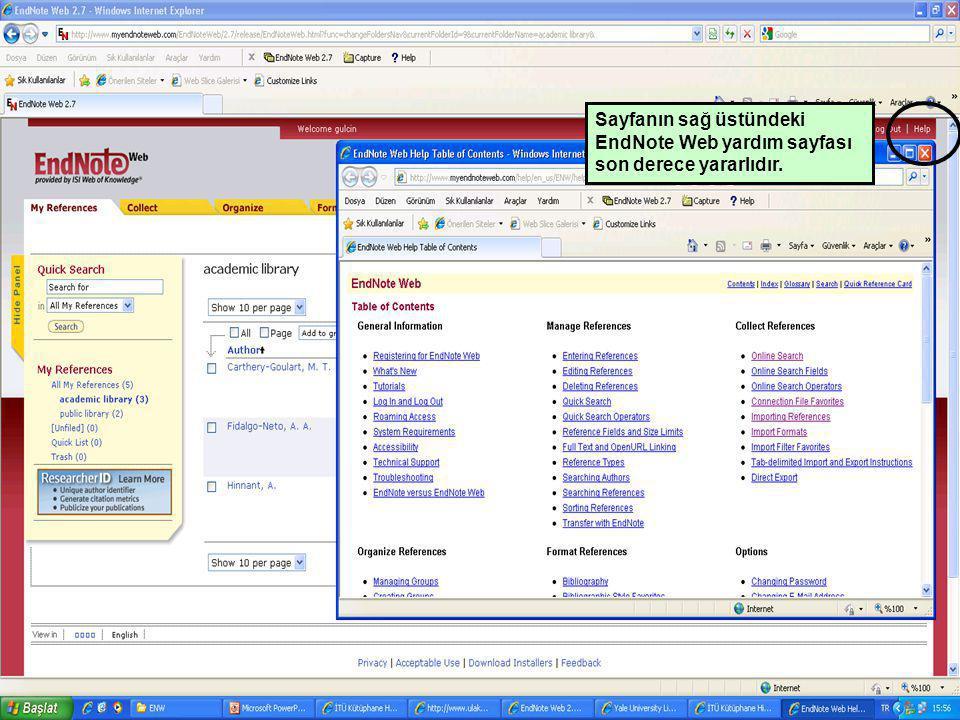 Sayfanın sağ üstündeki EndNote Web yardım sayfası son derece yararlıdır.