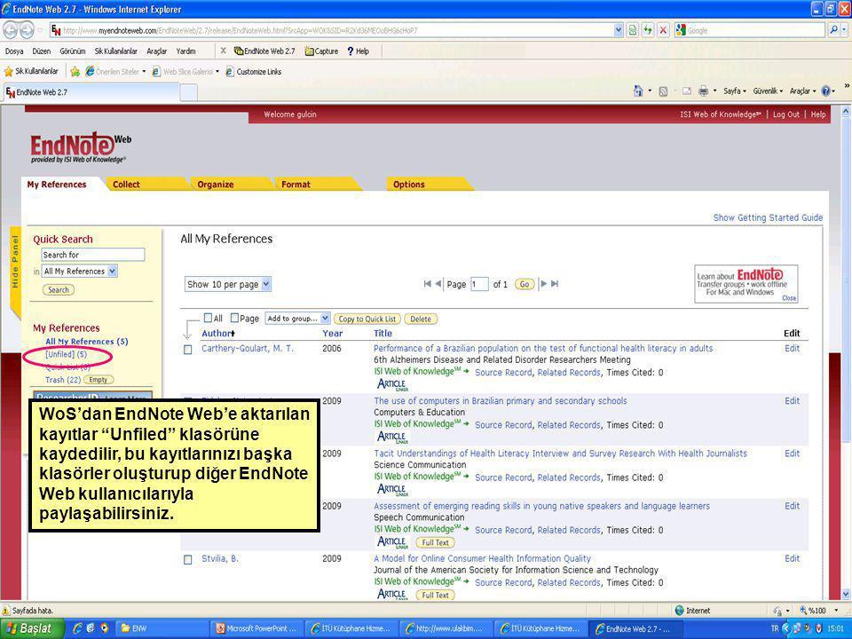 WoS'dan EndNote Web'e aktarılan kayıtlar Unfiled klasörüne kaydedilir, bu kayıtlarınızı başka klasörler oluşturup diğer EndNote Web kullanıcılarıyla paylaşabilirsiniz.