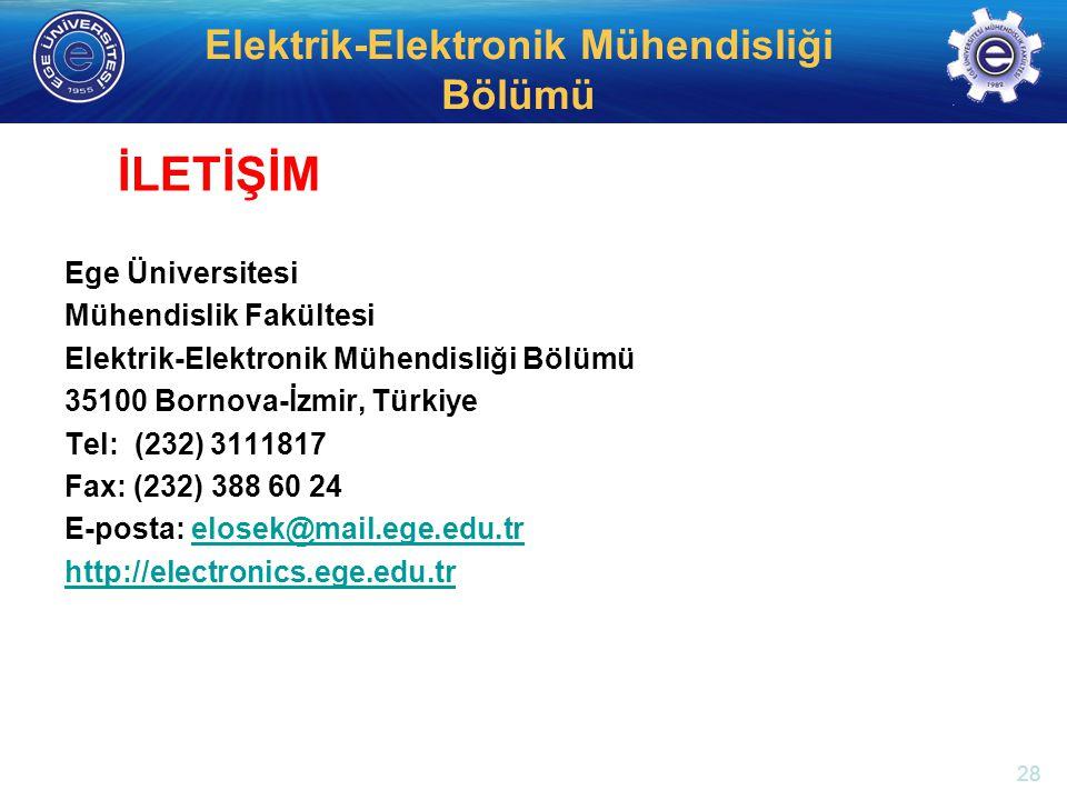 İLETİŞİM Ege Üniversitesi Mühendislik Fakültesi