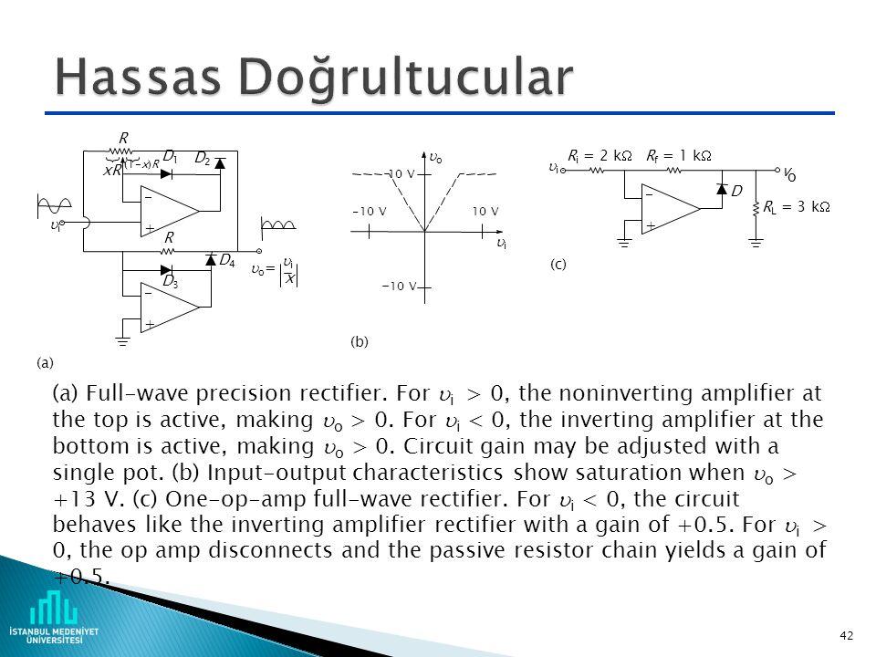 Hassas Doğrultucular - + (a) D3. R. o= i. D2. D1. D4. xR. (1-x)R. x. 10 V. (b) -10 V.