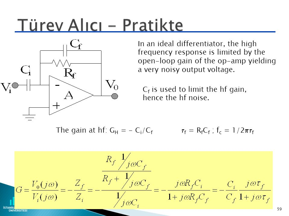 Türev Alıcı - Pratikte In an ideal differentiator, the high