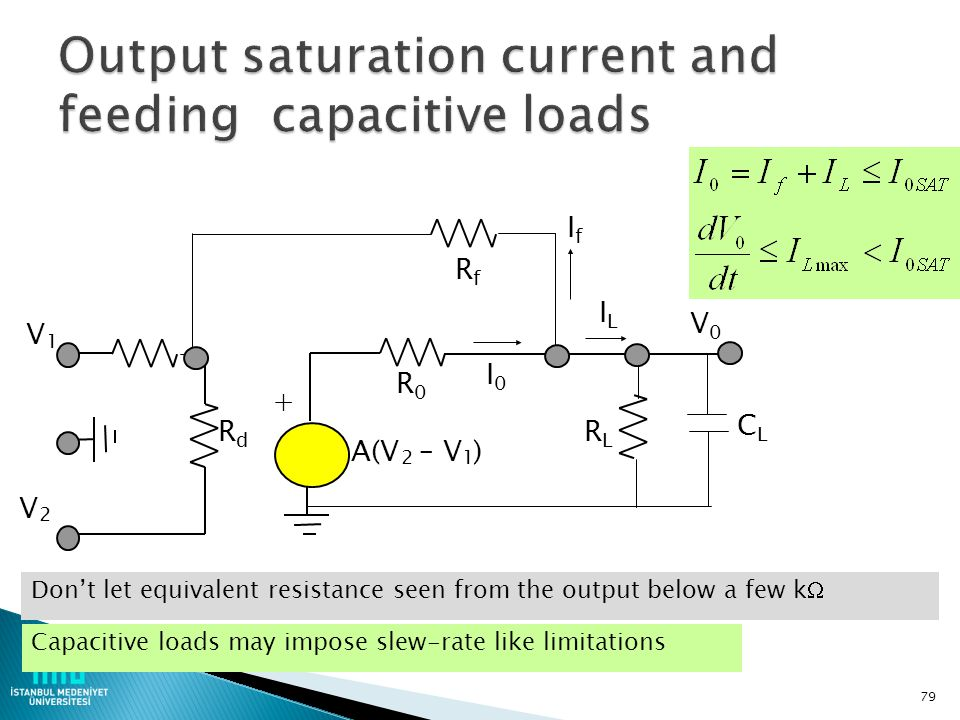 Output saturation current and feeding capacitive loads