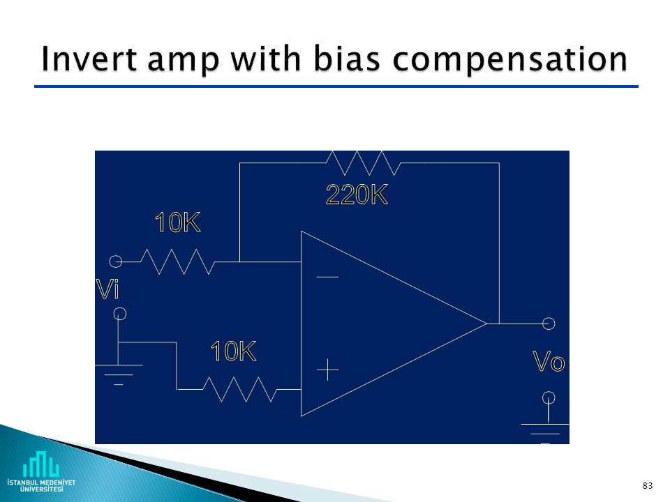 Invert amp with bias compensation