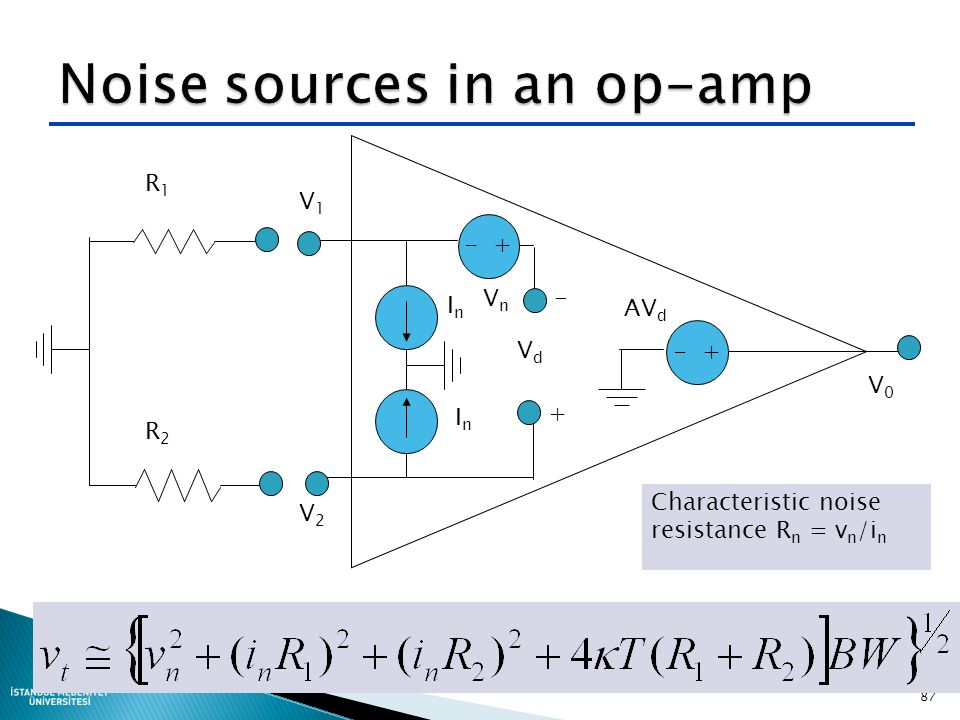 Noise sources in an op-amp