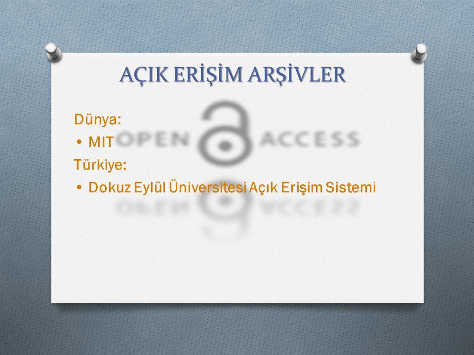 Dünya: • MIT Türkiye: • Dokuz Eylül Üniversitesi Açık Erişim Sistemi
