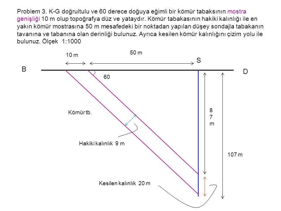 Problem 3. K-G doğrultulu ve 60 derece doğuya eğimli bir kömür tabaksının mostra genişliği 10 m olup topoğrafya düz ve yataydır. Kömür tabakasının hakiki kalınlığı ile en yakın kömür mostrasına 50 m mesafedeki bir noktadan yapılan düşey sondajla tabakanın tavanına ve tabanına olan derinliği bulunuz. Ayrıca kesilen kömür kalınlığını çizim yolu ile bulunuz. Ölçek 1:1000