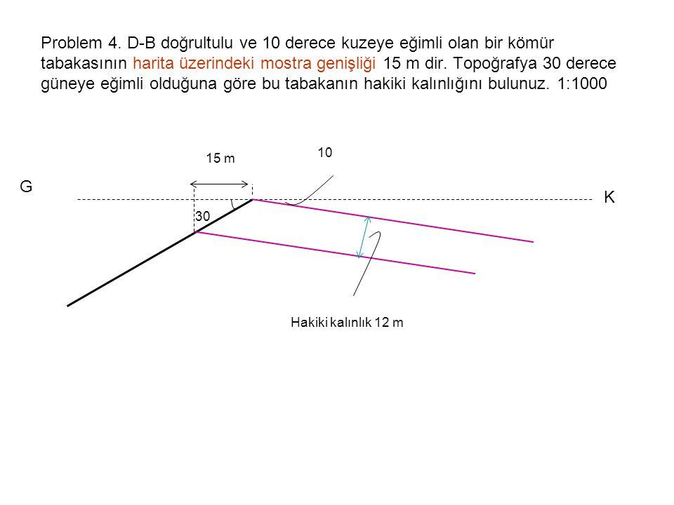 Problem 4. D-B doğrultulu ve 10 derece kuzeye eğimli olan bir kömür tabakasının harita üzerindeki mostra genişliği 15 m dir. Topoğrafya 30 derece güneye eğimli olduğuna göre bu tabakanın hakiki kalınlığını bulunuz. 1:1000