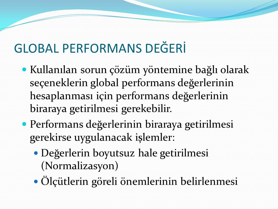 GLOBAL PERFORMANS DEĞERİ