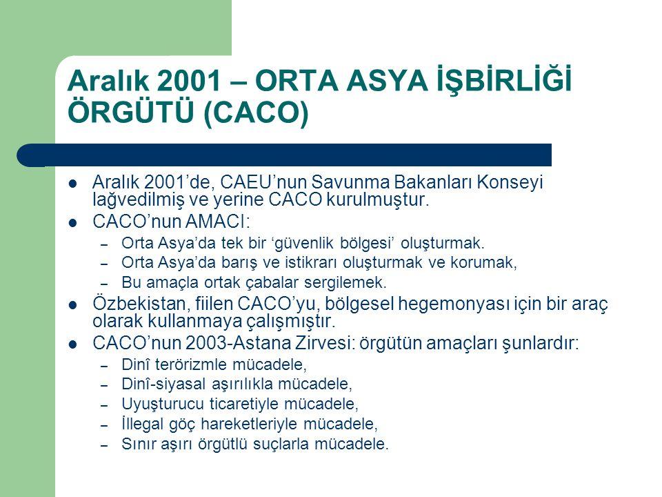 Aralık 2001 – ORTA ASYA İŞBİRLİĞİ ÖRGÜTÜ (CACO)
