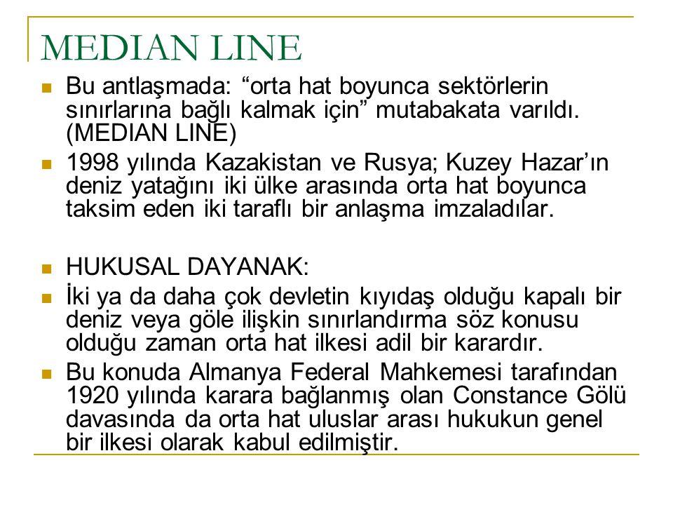 MEDIAN LINE Bu antlaşmada: orta hat boyunca sektörlerin sınırlarına bağlı kalmak için mutabakata varıldı. (MEDIAN LINE)